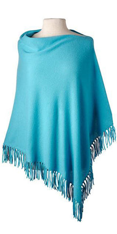 Cashmere Fringe Cape in Turquoise