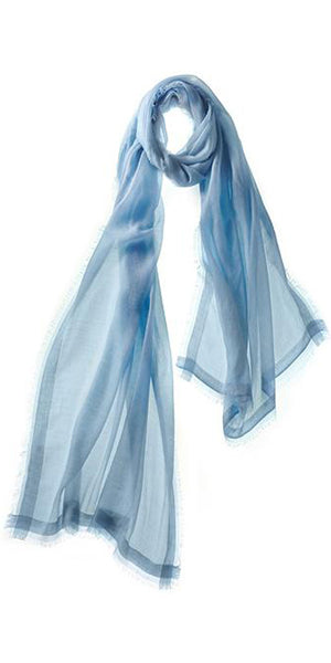 Finezza Featherweight Cashmere Scarf in Blue Mist