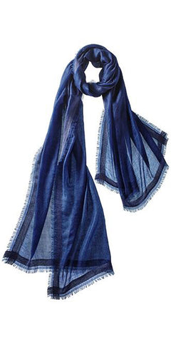 Finezza Featherweight Cashmere Scarf in Navy