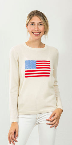Flag Intarsia Sweater in White