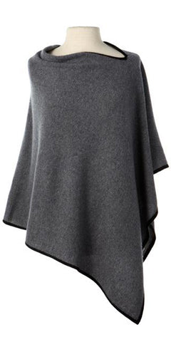 Cashmere Cape in Flannel Tipped with Black