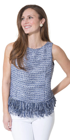 Tweed Fringe Hem Sleeveless Top in Navy