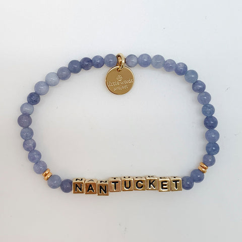 Little Words Project Stone/Gold Nantucket Aqua Bracelet