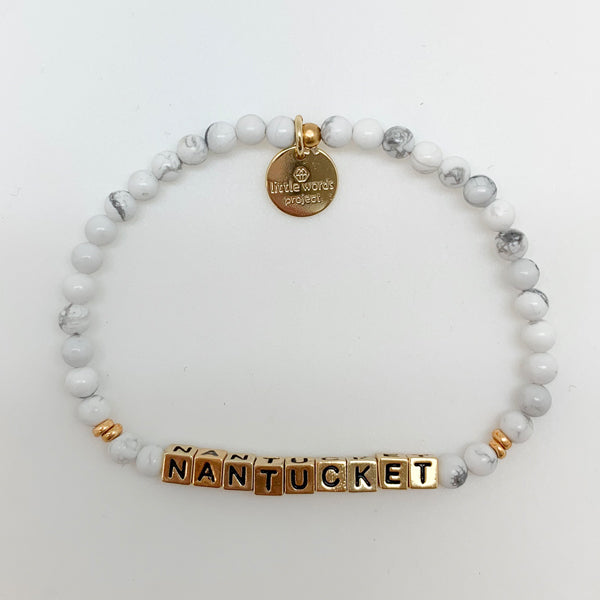 Little Words Project Stone/Gold Nantucket White Howlite Bracelet