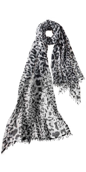 Leopard Featherweight Cashmere Scarf in Graphite