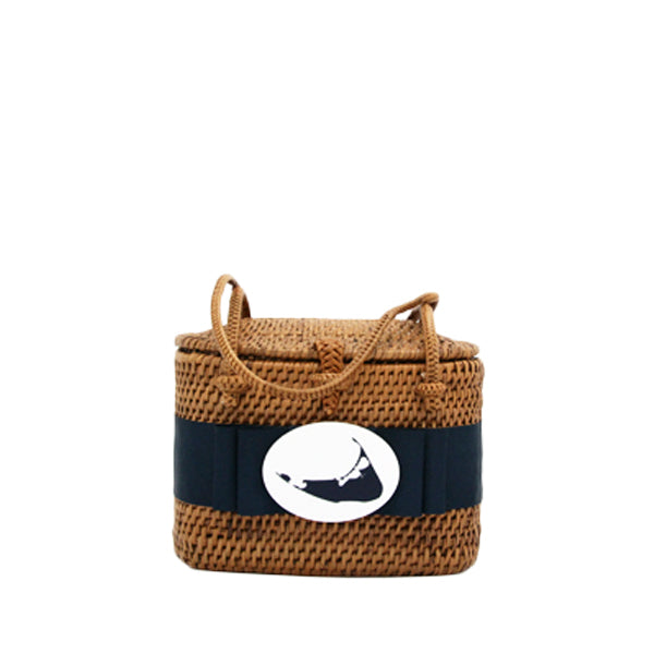Nantucket High Baby Bali Basket with Navy Ribbon