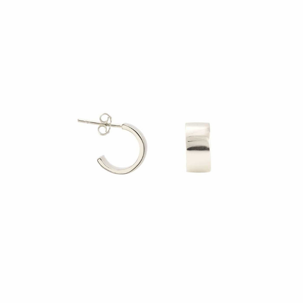 Wide Huggie Hoop Earrings in Silver