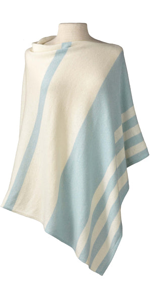 Cashmere Striped Cape in Ice/Ecru
