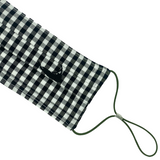Nantucket Mask in Black Gingham with Black Island