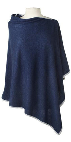 Cashmere Cape in Indigo Tipped With Birch