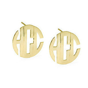 14kt Gold Block Monogram Post Earrings