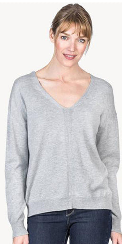 Laced Back V-Neck Sweater in Heather Grey