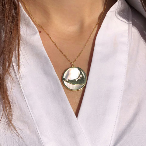 Gold Island Necklace with Mother of Pearl Back