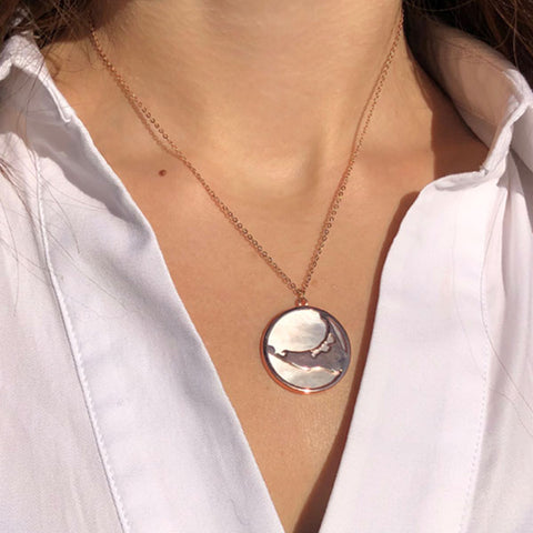 Rose Gold Island Necklace with Mother of Pearl Back