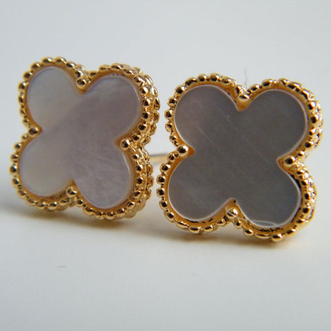 Large Mother of Pearl Quatrefoil Stud Earrings