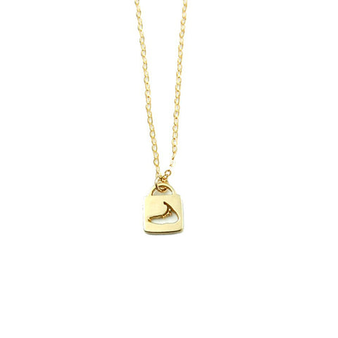 Lock Charm Necklace in Gold by Skar Jewelry