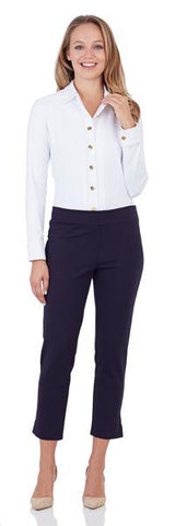 Lucia Ponte Slim Cropped Pant in Dark Navy