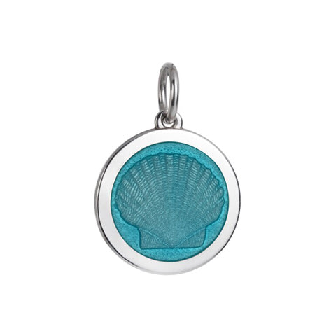 Medium Colby Davis Scallop Charm in Light Blue