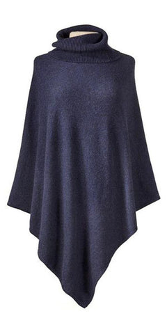 Cashmere Turtleneck Cape in Midnight