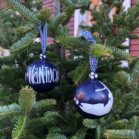 Navy & White Nantucket Island Ornament