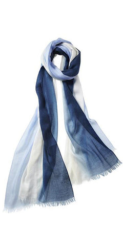 Ombre Featherweight Cashmere Scarf in Bayberry/Slate