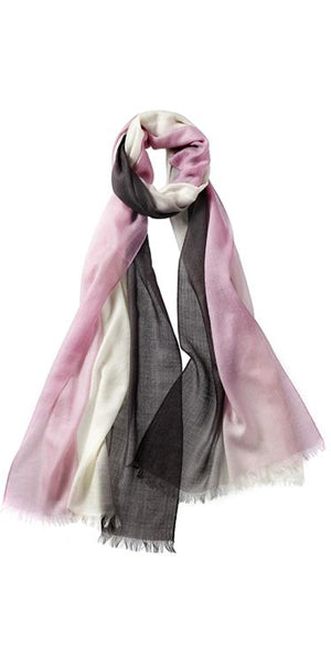 Ombre Featherweight Cashmere Scarf in Charcoal/Blossom