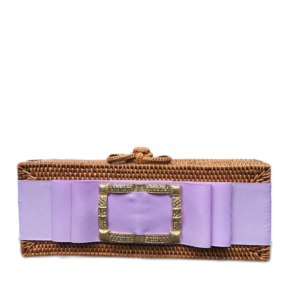 Colette Gold Buckle Clutch with Orchid Ribbon