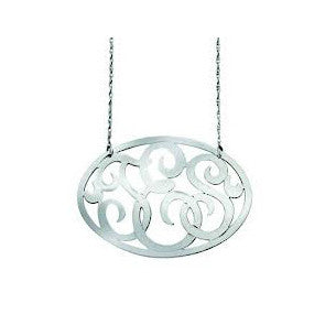 Oval Swirly Lace Monogram Necklace by Jane Basch