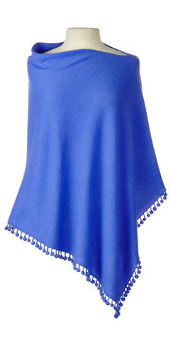 Cashmere Pom Pom Cape in Cornflower