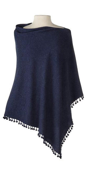 Cashmere Pom Pom Cape in Midnight