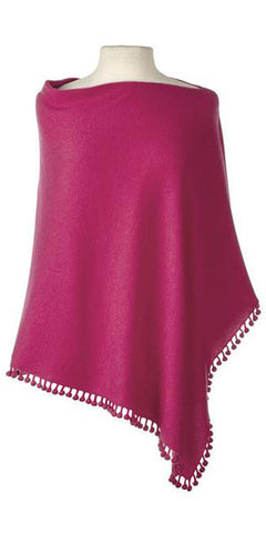 Cashmere Pom Pom Cape in Raspberry