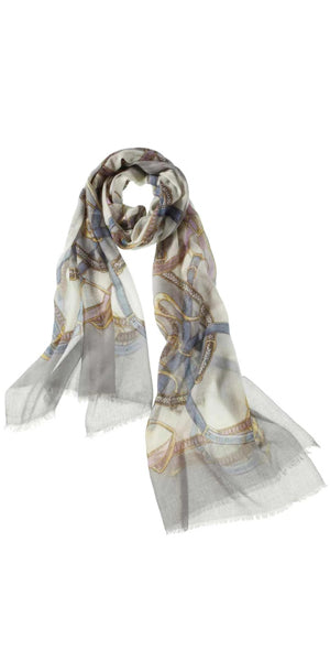 Cinta Featherweight Cashmere Scarf in Pearl Blue/Grey