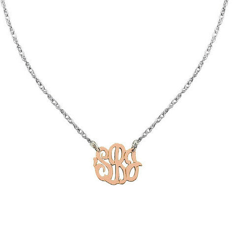 Two-Tone Mini Swirly Monogram Necklace by Jane Basch