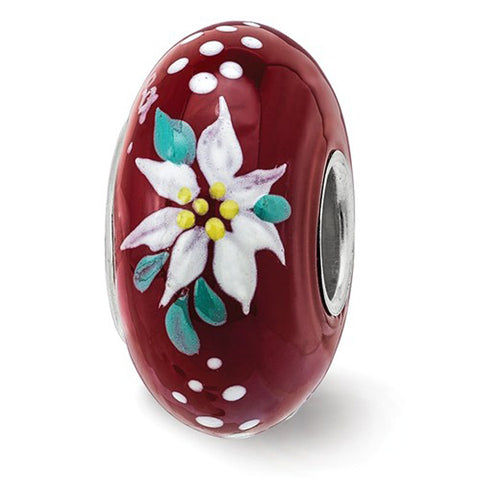Poinsettia Red Glass Bead