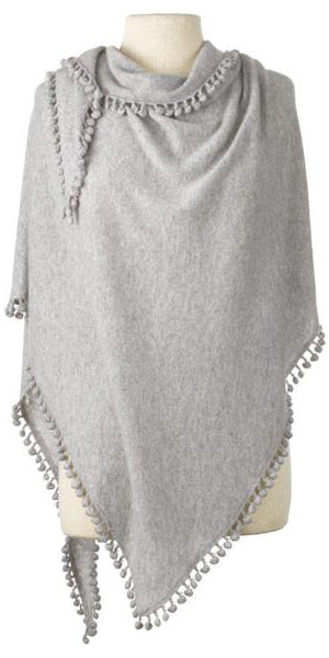 Cashmere Pom Pom Triangle Wrap in Birch