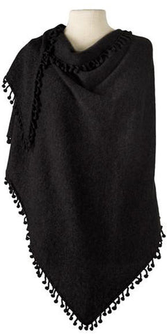 Cashmere Pom Pom Triangle Wrap in Black
