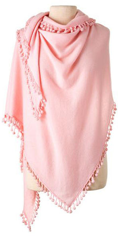 Cashmere Pom Pom Triangle Wrap in Blush