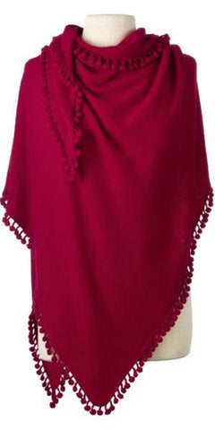Cashmere Pom Pom Triangle Wrap in Cherry
