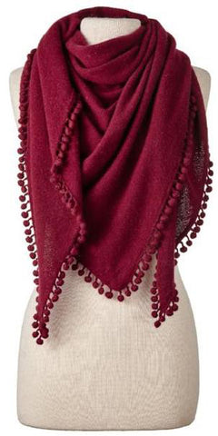 Cashmere Pom Pom Triangle Wrap in Claret