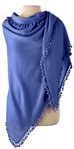 Cashmere Pom Pom Triangle Wrap in Cornflower