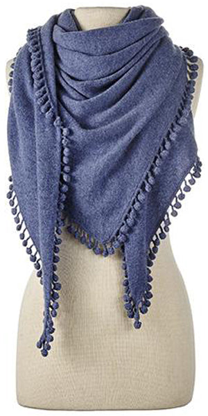 Cashmere Pom Pom Triangle Wrap in Denim