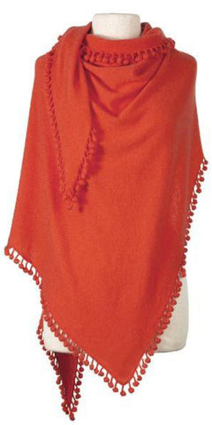 Cashmere Pom Pom Triangle Wrap in Flame