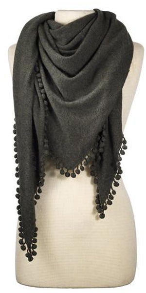 Cashmere Pom Pom Triangle Wrap in Olive