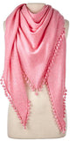 Cashmere Pom Pom Triangle Wrap in Pink Mist