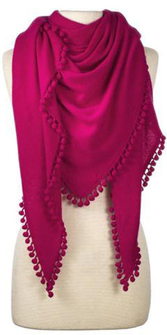 Cashmere Pom Pom Triangle Wrap in Raspberry