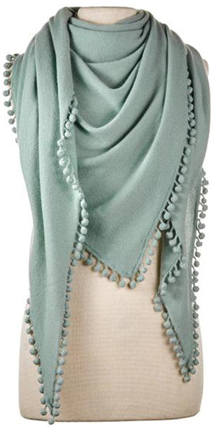 Cashmere Pom Pom Triangle Wrap in Sage
