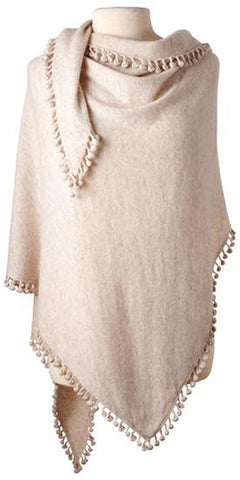 Cashmere Pom Pom Triangle Wrap in Sand