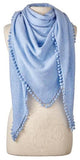 Cashmere Pom Pom Triangle Wrap in Sky Blue