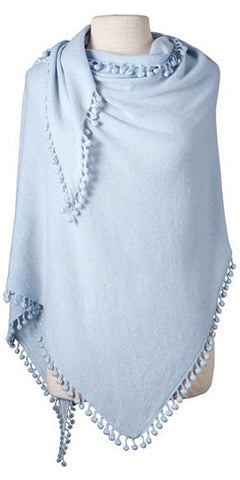 Cashmere Pom Pom Triangle Wrap in Winter Blue