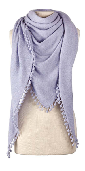 Cashmere Pom Pom Triangle Wrap in Heather